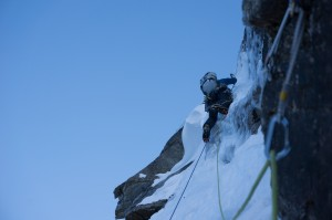 Me on the ice crux pitch on the first ascent of 'Powered by Beans, photo by Ian Welsted