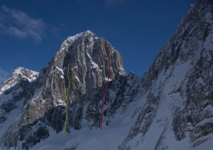 West face of Pyramid Peak showing the French ascent in red and our attempt in yellow, pic by Ian Welsted