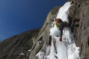 Darren Vonk climbing steep ice on the first ascent of 'The John Lauchlan Memorial Award Route', photo by K.Irwin